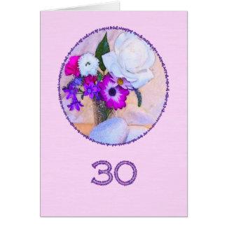 Gelukkige 30ste verjaardag met bloem het wenskaart