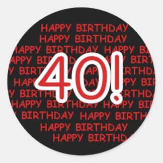 Gelukkige 40ste Verjaardag Ronde Sticker