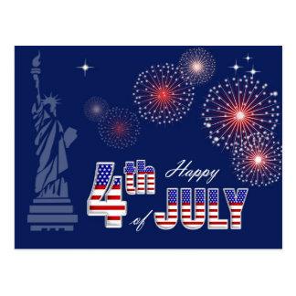 Gelukkige 4 van Juli. Patriottische Briefkaart