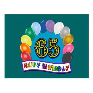 Gelukkige 65ste Verjaardag met Ballons Wens Kaart