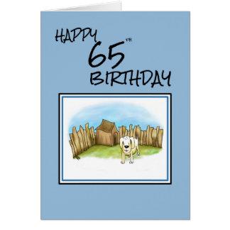 Gelukkige 65ste Verjaardag met cartoonhond in tuin Wenskaart