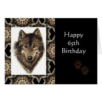 Gelukkige 65ste Verjaardag met de Wolf van de Wenskaart