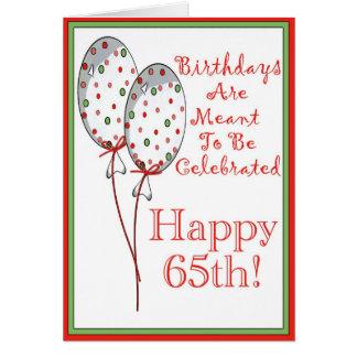 Gelukkige 65ste verjaardagskaart wenskaart