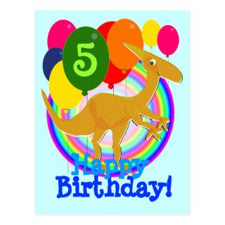Gelukkige Ballons 5 van de Kleuren van de Verjaard Briefkaart