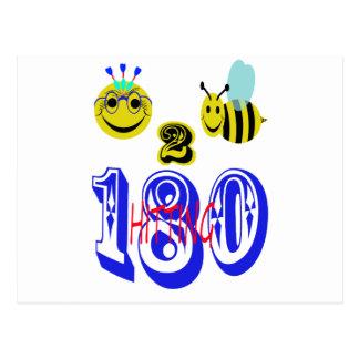 gelukkige bij 2 die 180 raken briefkaart