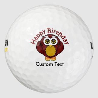 Gelukkige Bithday - Wijze Uil met Gebogen Teksten Golfballen
