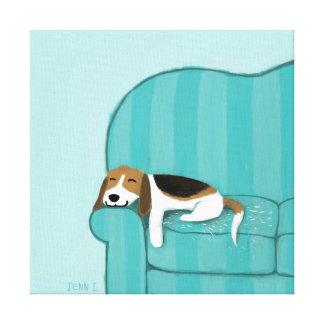 Gelukkige Brak | van de Laag Leuke Hond Canvas Afdruk