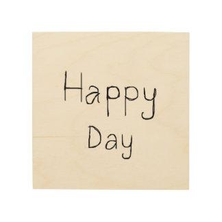 """Gelukkige dag 8 """" x8"""" het Houten Art. van de Muur Hout Print"""