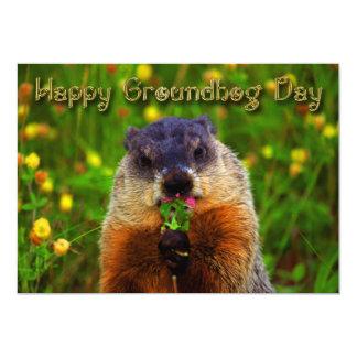 Gelukkige Dag Groundhog die Bloem eten Kaart