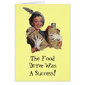 Gelukkige Dame Food Drive Groceries Thank u Briefkaarten 0
