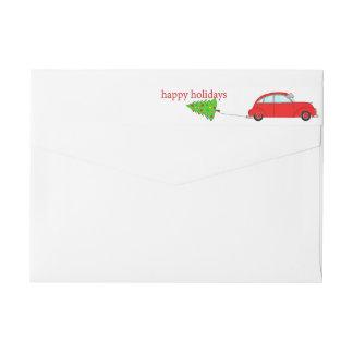 Gelukkige de auto slepende boom van Kerstmis van