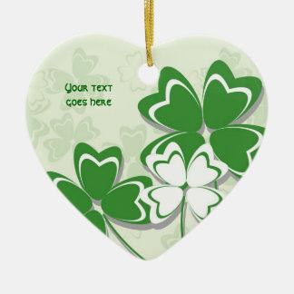 Gelukkige de klaverSt. Patricks van de charme Keramisch Hart Ornament