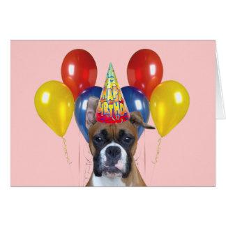 Gelukkige de verjaardagskaart van de bokser notitiekaart