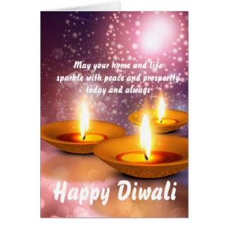 Gelukkige Diwali olieLampen op gloeiend vuurwerk Kaart