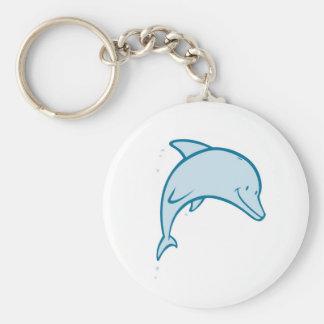 Gelukkige Dolfijn Basic Ronde Button Sleutelhanger