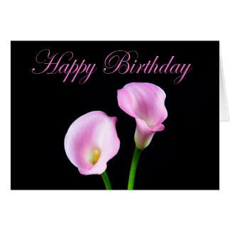 Gelukkige Elegante Roze Calla van de Verjaardag Briefkaarten 0