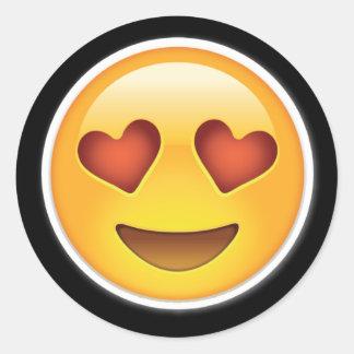 gelukkige emojistickers van hartogen ronde sticker