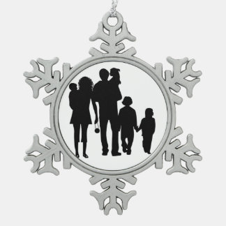 GELUKKIGE FAMILIE TIN SNEEUWVLOK ORNAMENT