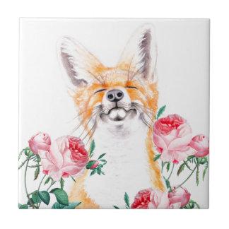 Gelukkige Foxy en Rozen Keramisch Tegeltje