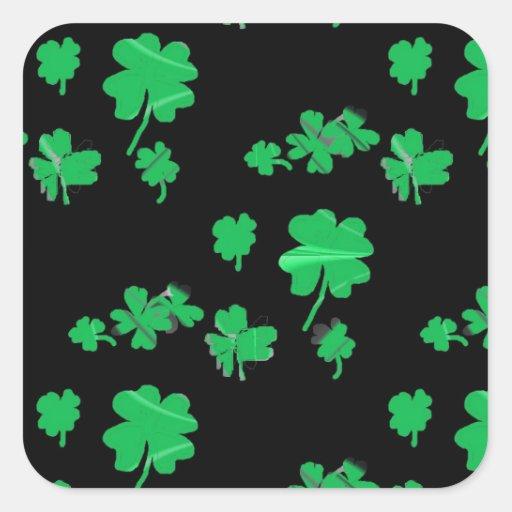Gelukkige Groene Klaver Vier de Klaver het Iers Vierkante Stickers