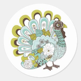 Gelukkige Kaart 2 van Turkije van de Thanksgiving Ronde Sticker