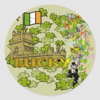 Gelukkige Kabouter en Zijn Iers Kasteel Ronde Sticker