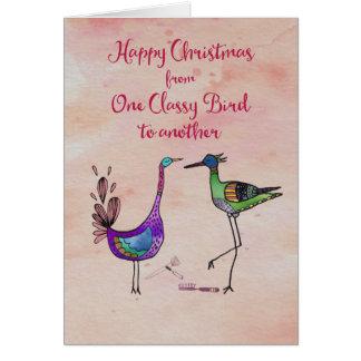 Gelukkige Kerstmis van één Elegante Vogel aan een Kaart