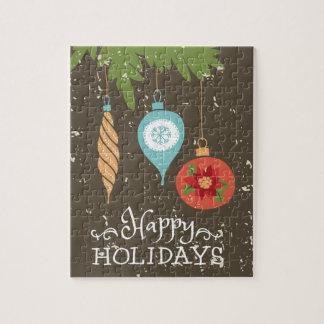 Gelukkige Kerstmis van het Vakantie siert Puzzel