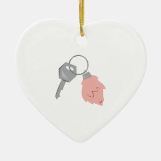 Gelukkige Keychain Keramisch Hart Ornament