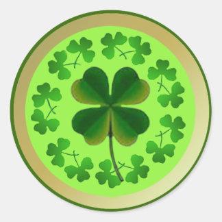 Gelukkige Klavers voor St Patrick Dag Ronde Stickers