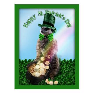 Gelukkige Meerkat met Pot van Gouden St. Patrick Briefkaart