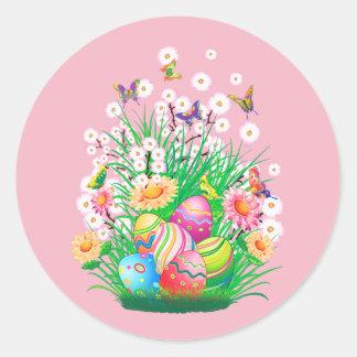 Gelukkige Paaseieren en Bloemenontwerp Ronde Sticker