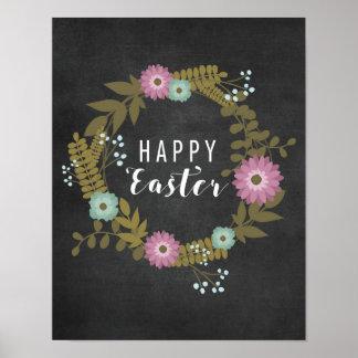 Gelukkige Pasen! - Bloemen met Bord Poster
