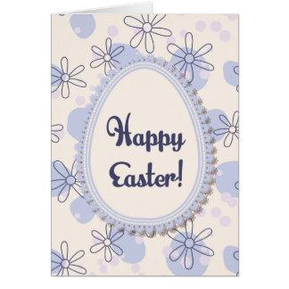 Gelukkige Pasen kaart met eibanner op blauwe