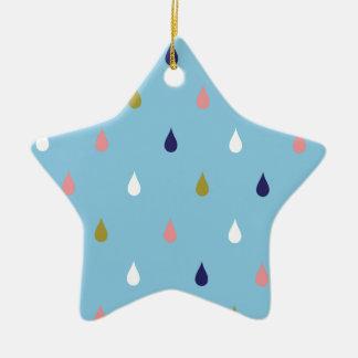 Gelukkige regendalingen keramisch ster ornament