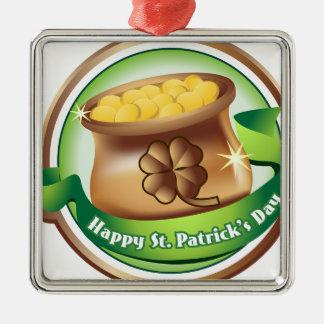Gelukkige St Patrick dag, de Ierse Vakantie van Zilverkleurig Vierkant Ornament