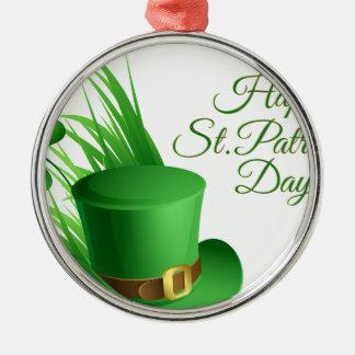 Gelukkige St Patrick dag, vakantie Iers pet Zilverkleurig Rond Ornament