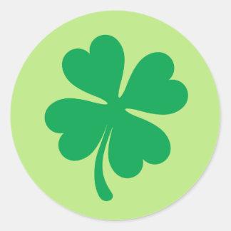 Gelukkige St Patricks dagklaver of 4 bladklaver Ronde Sticker