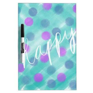 Gelukkige stip en de Blauwgroen Schets van de Dry Erase Whiteboards