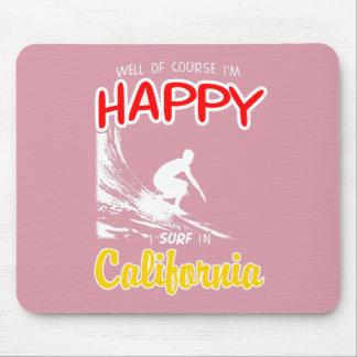 Gelukkige Surfer CALIFORNIË (Wht) Muismatten