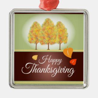Gelukkige Thanksgiving met de Bomen van de Herfst Zilverkleurig Vierkant Ornament