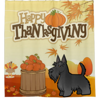 Gelukkige Thanksgiving Schots Terrier Douchegordijn