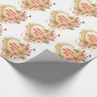 Gelukkige Valentijnsdag 2 Verpakkend Document Cadeaupapier