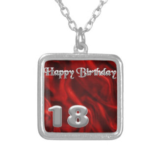 Gelukkige Verjaardag 18 - rode zijde Zilver Vergulden Ketting