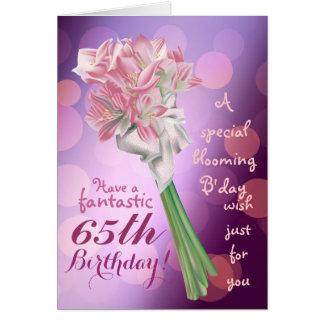 Gelukkige Verjaardag - 65ste roze Wenskaart