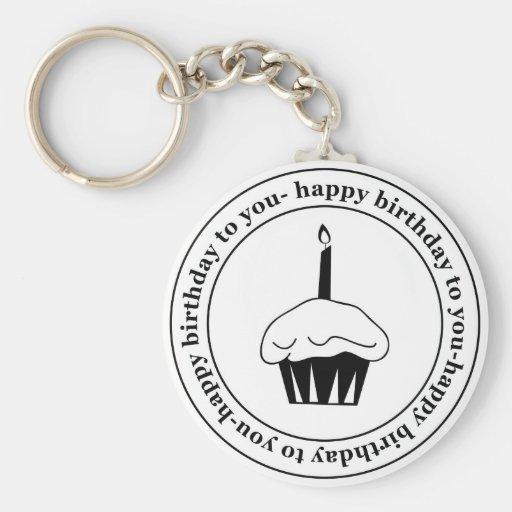 Gelukkige verjaardag aan u cupcake cirkel sleutel hanger
