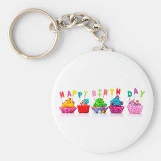 Gelukkige Verjaardag Cupcakes - Keychain Basic Ronde Button Sleutelhanger