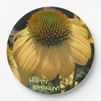 Gelukkige Verjaardag Echinacea Papieren Bordje
