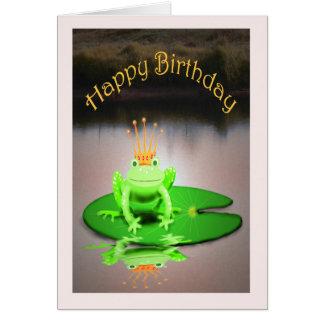 Gelukkige Verjaardag, groene kikker die kroon, Kaart