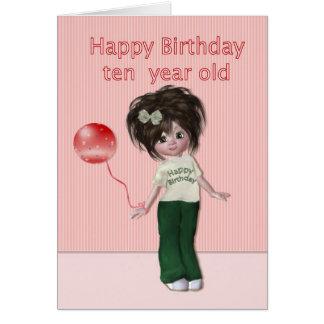 Gelukkige Verjaardag het Meisje van Tien Kaart